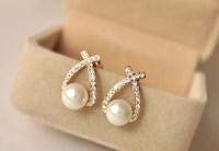 Modern Stud Earrings Women Rhinestone Fashionable Pearl ...