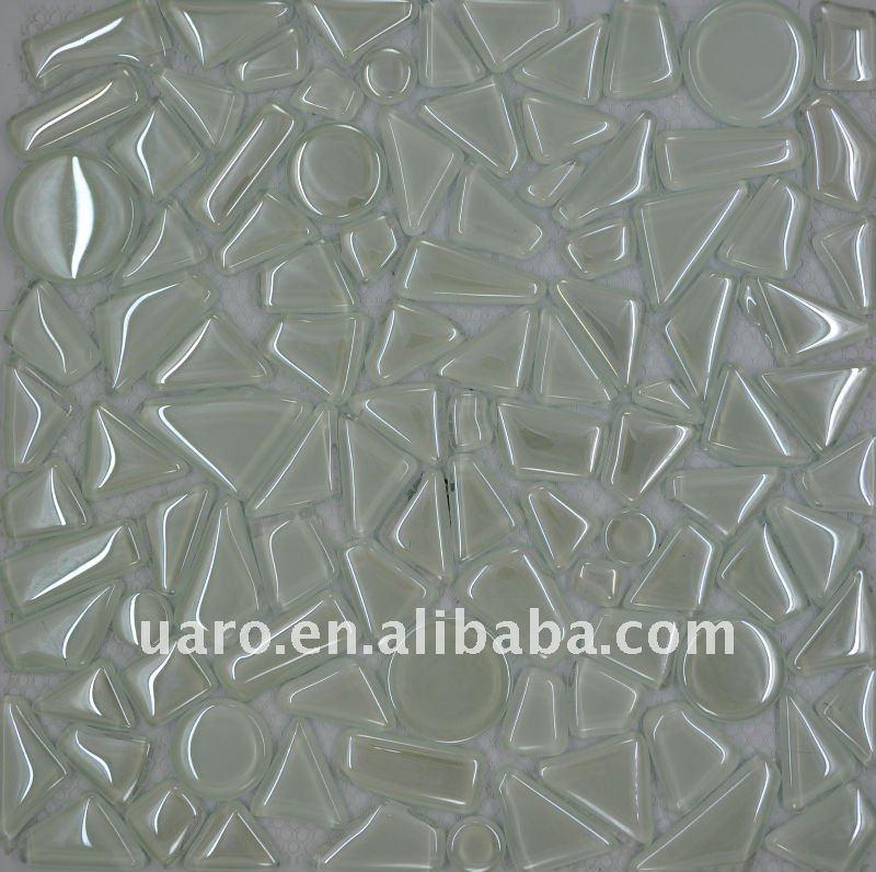 Free Style Metallic Crystal Round Foil Mosaic Pebble Glass