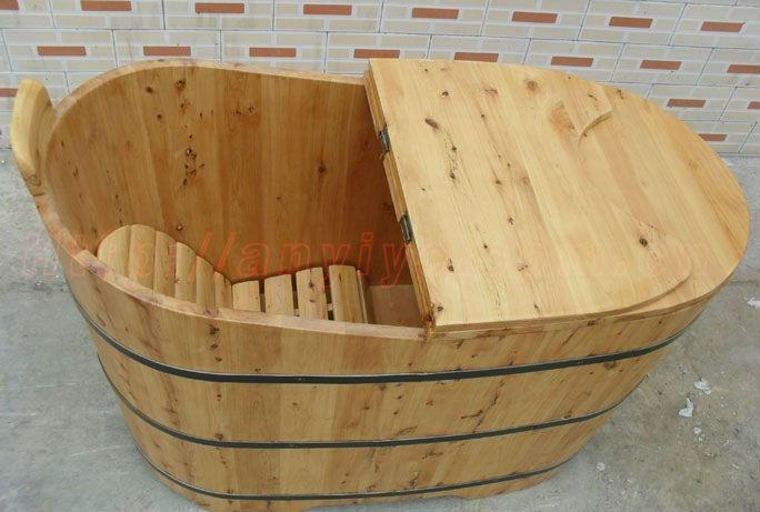 Indoor Oval Cedar Wooden BathtubSoaking Wooden Barrel