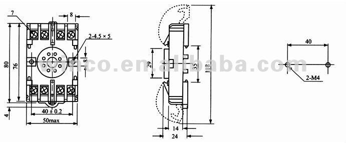 General Relay Socket 8PFA 8 Pins, View relay socket, BIGM