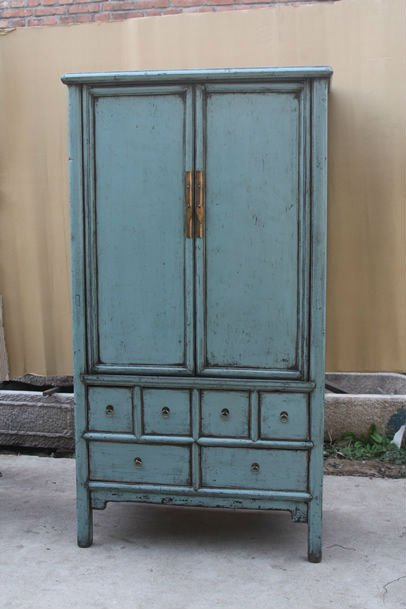 Chinese Red Antique Two Door Two Drawer Carved Wedding