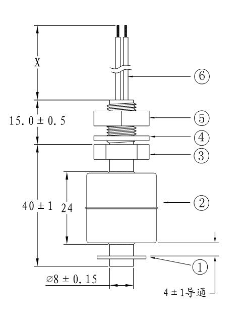 Stainless Material Float Switch In Vertical Installation