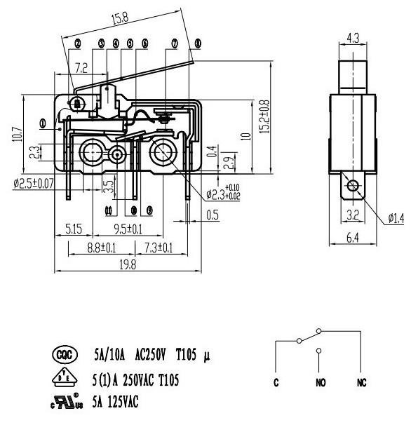 Mini Electric Push Button Micro Switch 25t85 Micro Switch