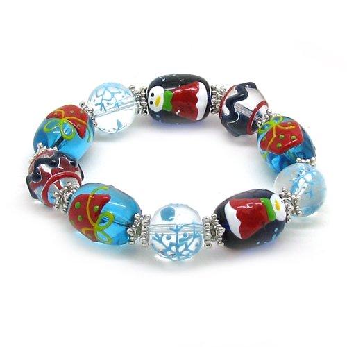 Blue White Christmas Murano Glass Bead Stretch Bracelet