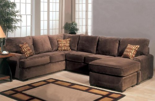 sectional sofa couch sofas north carolina chaise with block feet in chocolate color