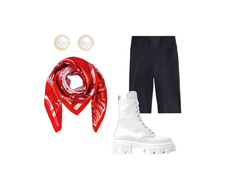 Snö of Sweden earrings are made of gold-plated steel, € 29.95.  Cheer up your black and white outfit by tying a silk scarf to a bag strap, € 85, Marja Kurki.  Filippa K's cycling tights are made of compression knit, 80 €.  White country clothes are a spring trend, € 199, VamSko.