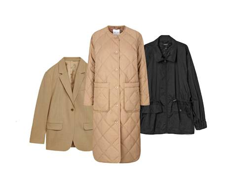 The sheet blazer is made of wool, € 150.  Quilted jackets have become new favorites, € 219, Samsøe & Samsøe.  Even the thickest sweater, € 39.99, can be stored under the loose polyamide anorak.