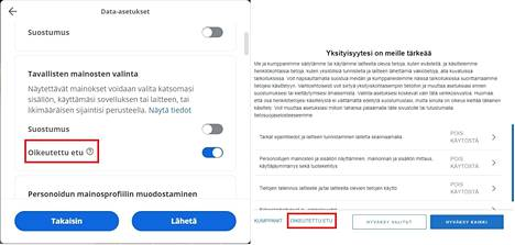 Two examples of a legitimate interest survey on two different websites.  Screenshot.