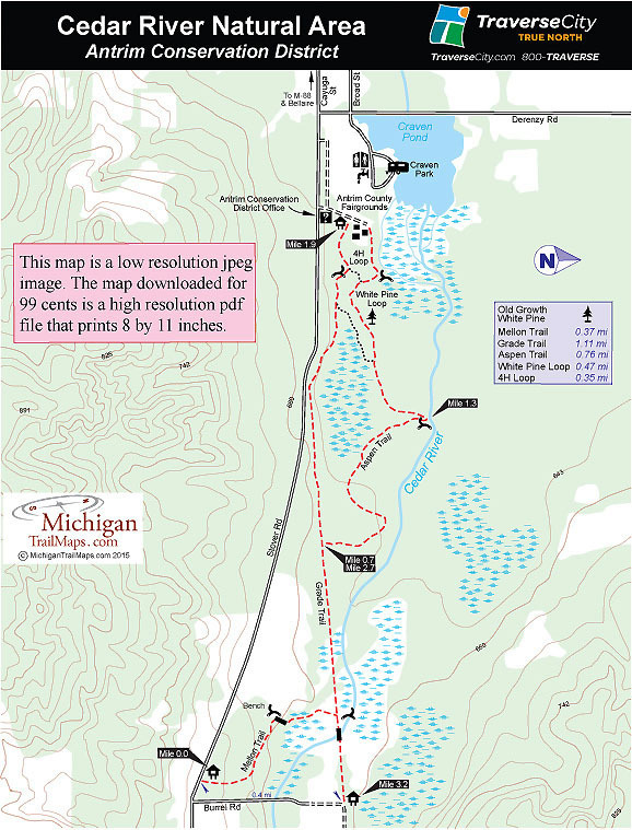 Cedar Creek Natural Area Michigan Trail Maps
