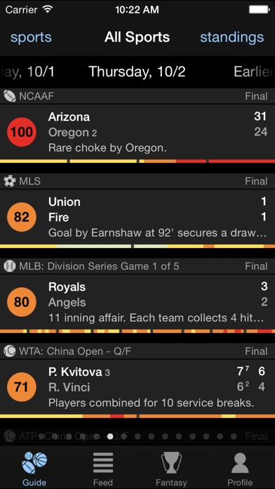 Thuuz Sports Screenshot