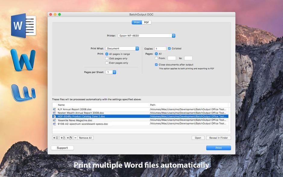 BatchOutput DOC 2.5.9 Mac 破解版 自动从Microsoft Word进行打印和生成PDF的工具