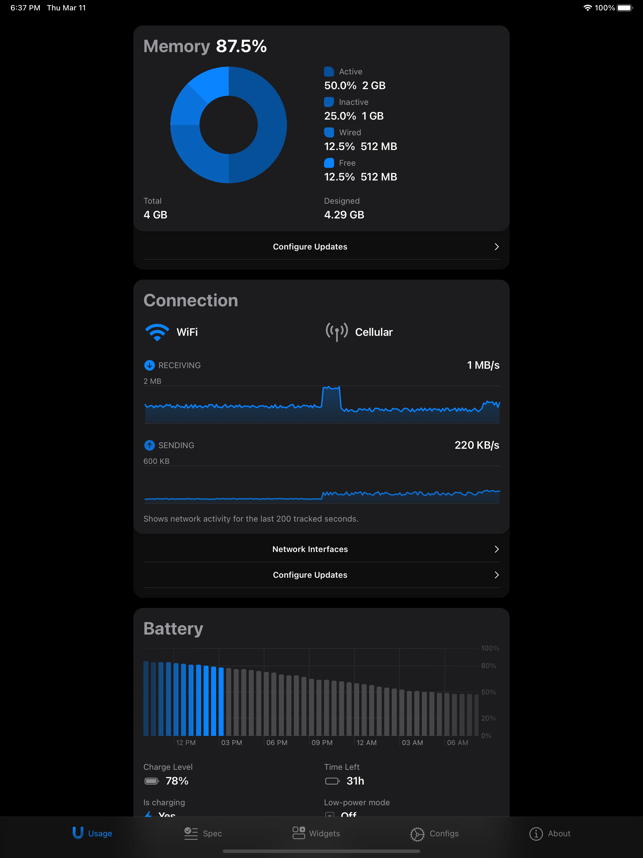 ‎Usage: System Activity Widgets Screenshot