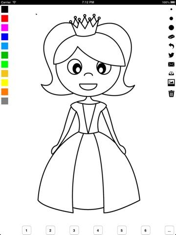 Libro para colorear la princesa para niñas: castillo, rana