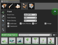 6. Add the foliage types to the foliage painter.