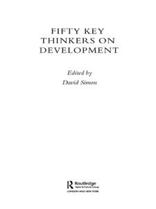 Fifty Key Thinkers on Development - David Simon pdf download