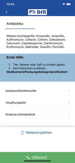 BfR-Vergiftungsunfälle Screenshot