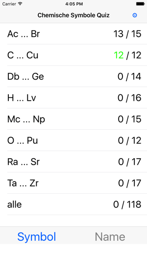 Chemische Symbole Quiz im App Store