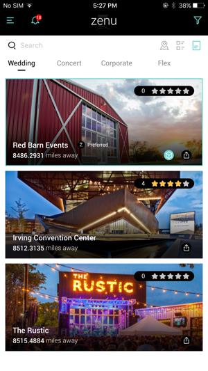 Zenu App - Event Venue Finder Screenshot