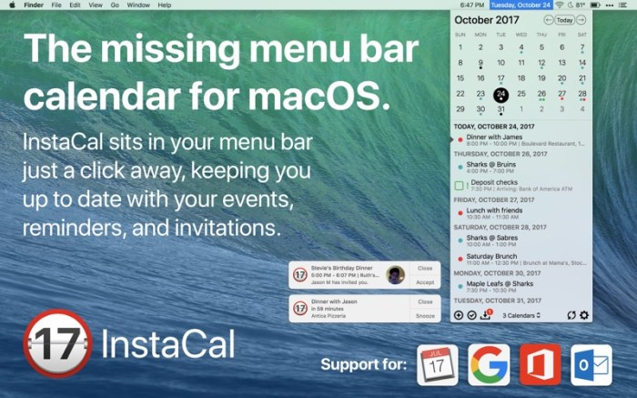 InstaCal - Menu Bar Calendar Screenshot 01 9wco9jn