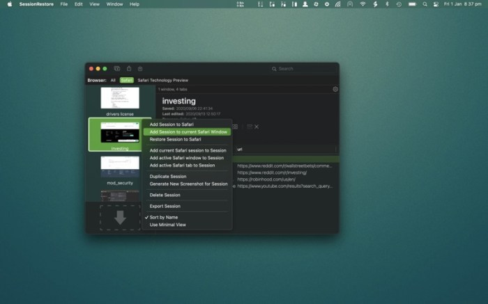 SessionRestore for Safari Screenshot 04 57tpe1n