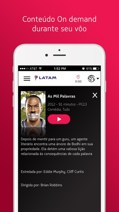 Screenshot do app LATAM Entertainment