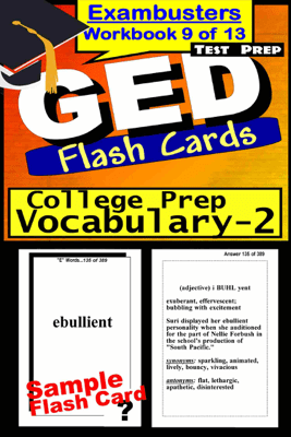 GED Test Prep College Prep Vocabulary 2 Review--Exambusters Flash Cards--Workbook 9 of 13 - GED Exambusters