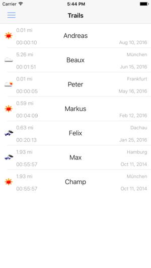 The Mantrailing App Screenshot