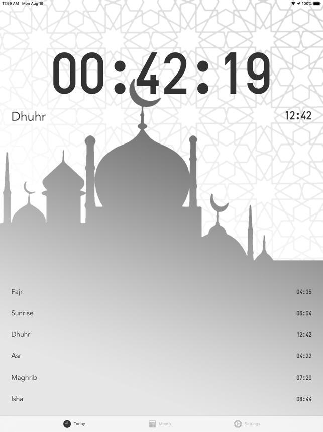 Prayer Times - today & month Screenshot