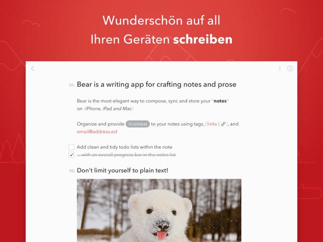 Bear - Private Notizen Screenshot
