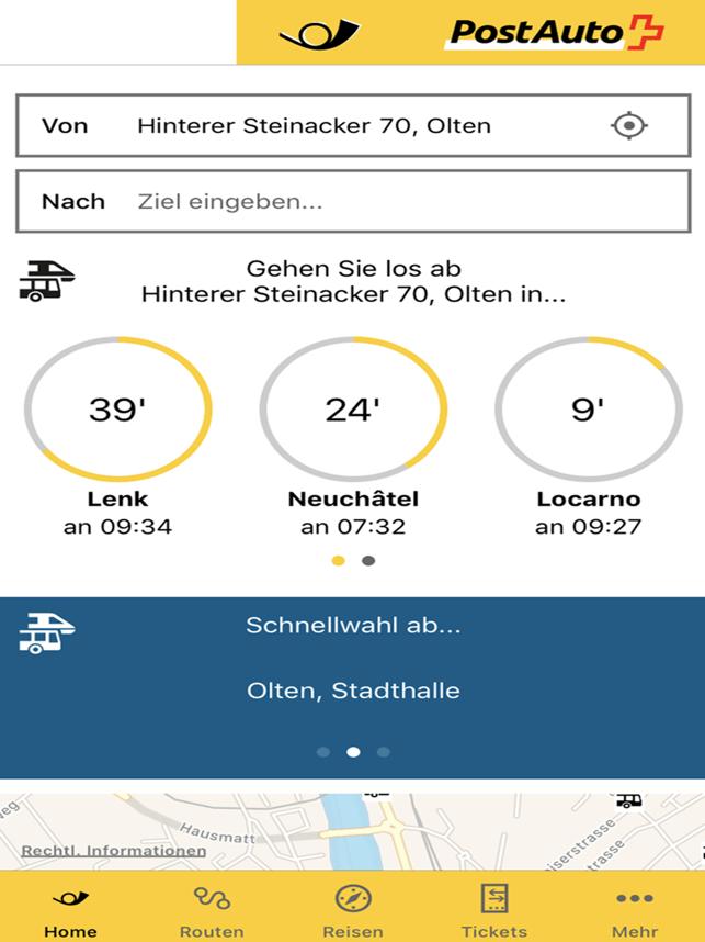 PostAuto Schweiz Screenshot