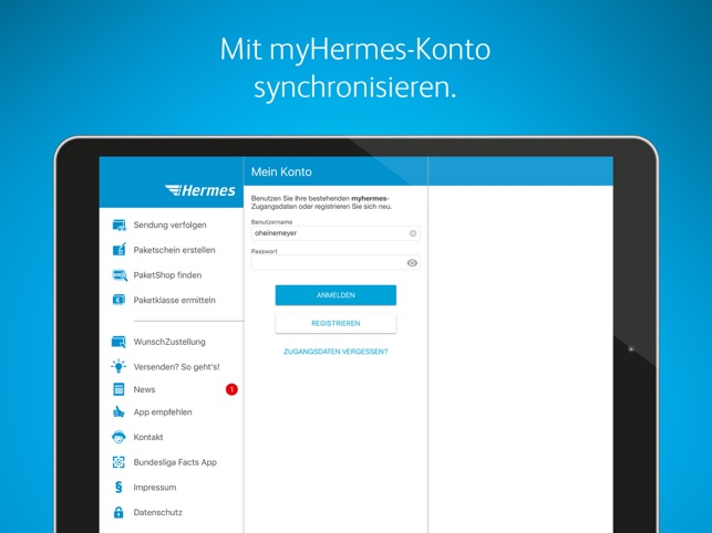 Hermes Paketversand Screenshot
