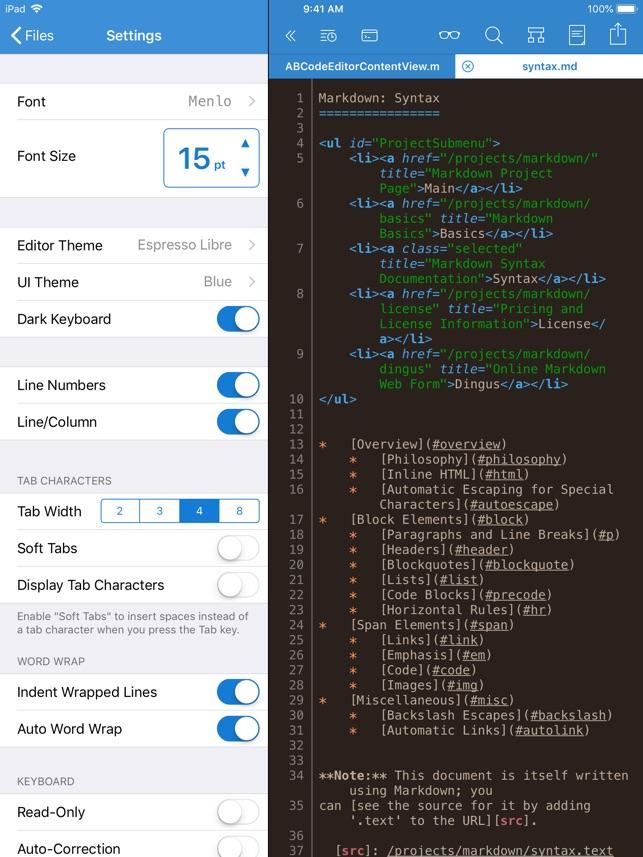 Textastic Code Editor 7 Screenshot
