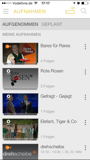 Vodafone Kabel TV App Screenshot