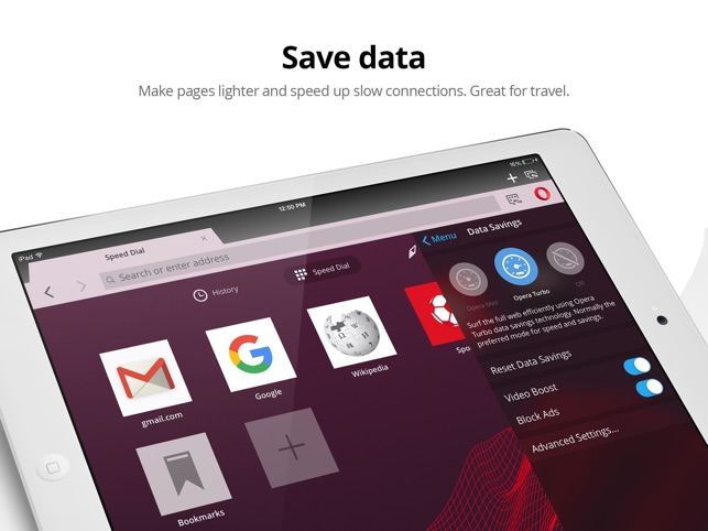 Opera Mini web browser Screenshot