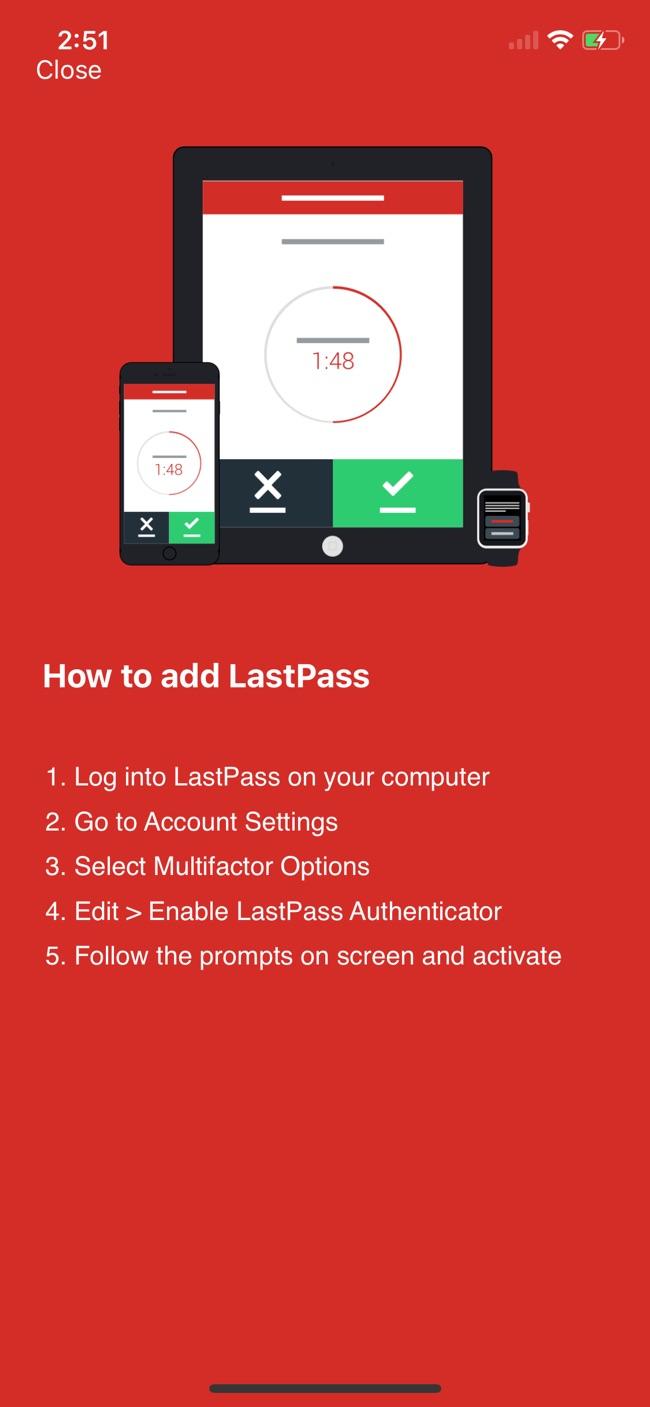 LastPass Authenticator Screenshot