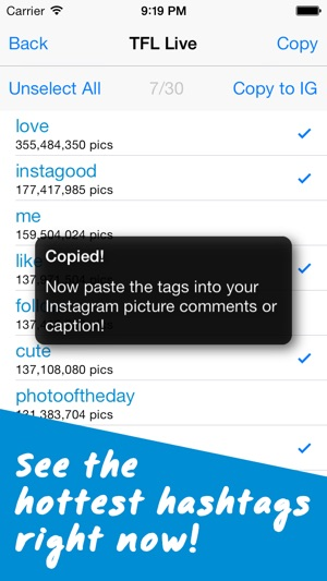 TagsForLikes - Copy and Paste Tags for Instagram - Hashtags Helper Screenshot