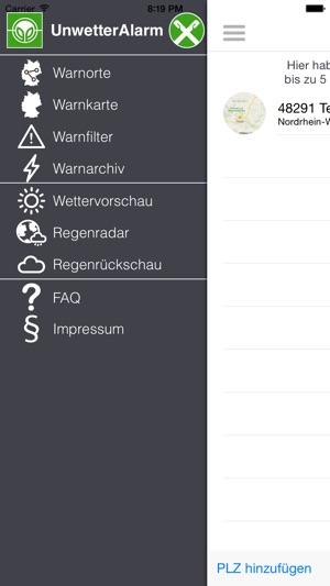 Unwetter-Alarm Screenshot