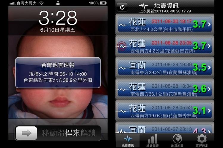 臺灣地震速報-Earthquakes Express Taiwan by GzFox Inc.