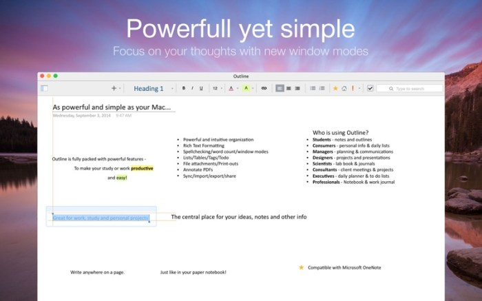 Outline –your digital notebook Screenshot 02 13at2wn