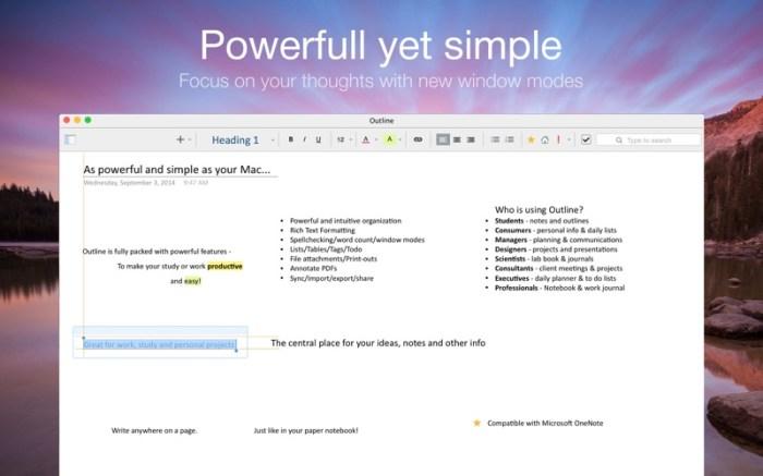 Outline –your digital notebook Screenshot 02 1nangxkn