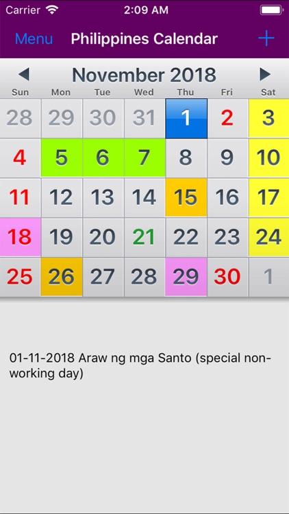 2019 Philippines Calendar by Rhappsody Technologies