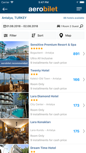 Aerobilet - Flights, Hotels Screenshot