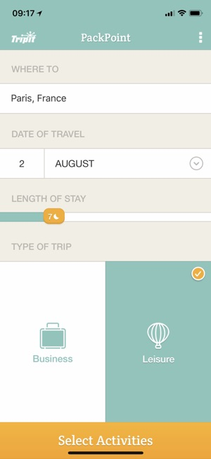 PackPoint Travel Packing List Screenshot
