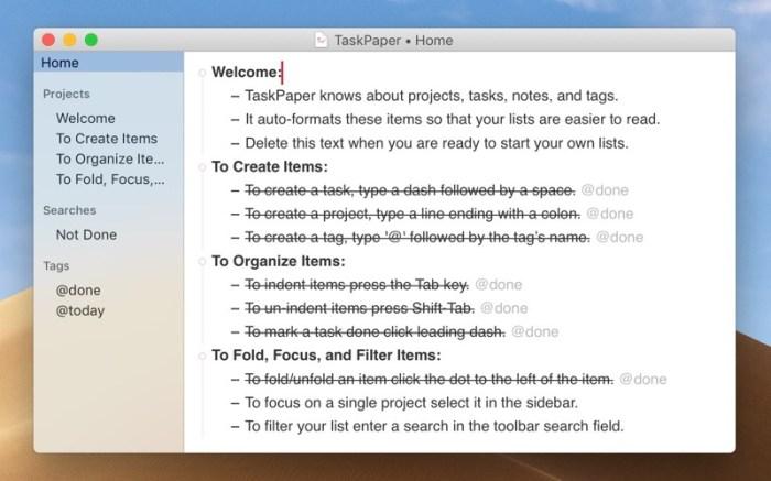 TaskPaper – Plain text to-dos Screenshot 1 ikzeg1n