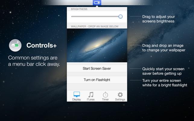 Controls+ for iTunes, Display & Timer in Menu Bar Screenshot