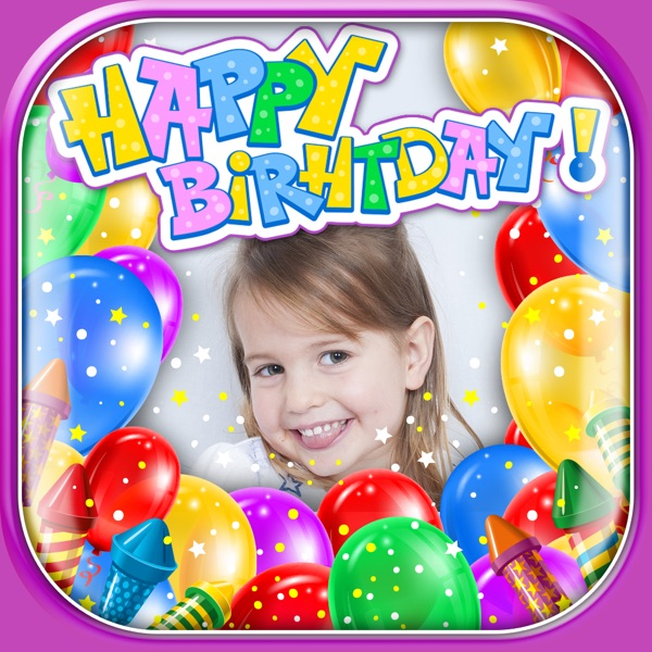 Happy Birthday Photo Frames & Stickers with Stamps