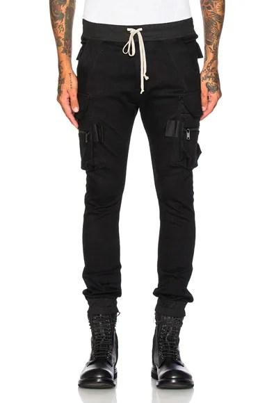 Rick Owens Denim Jogging Cargo Pants in Black | FWRD