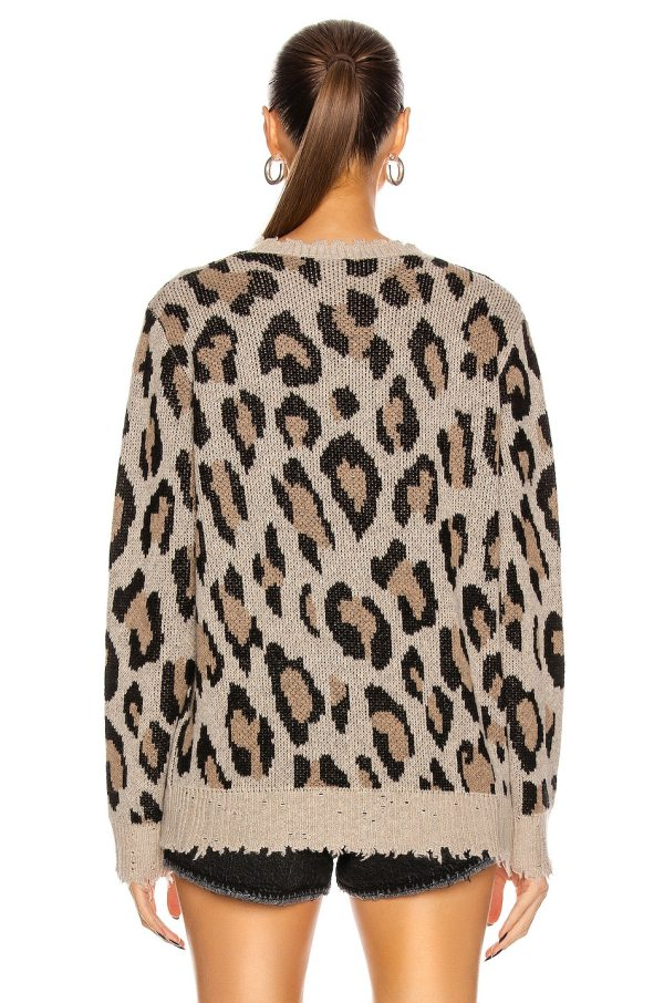 R13 Leopard Cashmere Crewneck Sweater In Fwrd