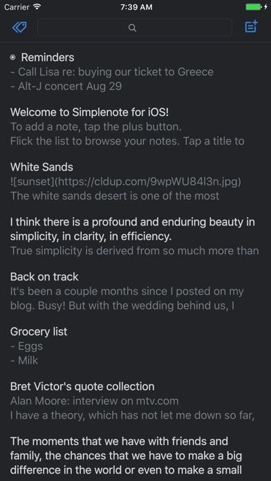 Simplenote Screenshot
