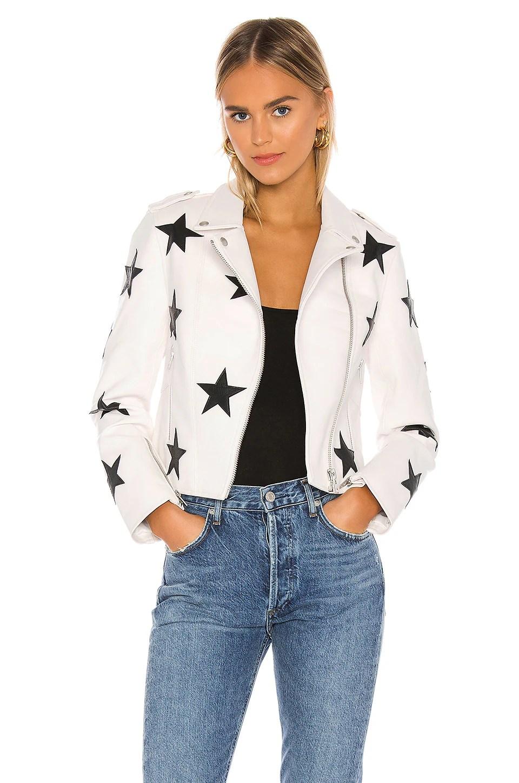 Vegan Leather Star Patch Moto Jacket                     BLANKNYC 2